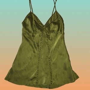 Silk Embellished Babydoll Tank Top